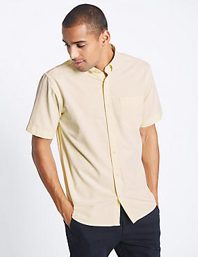 Pure Cotton Oxford Shirt with Pocket, YELLOW, catlanding
