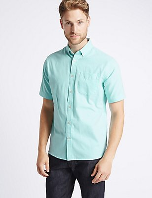 Pure Cotton Oxford Shirt with Pocket, , catlanding