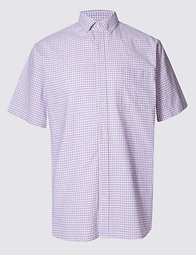 Pure Cotton Gingham Shirt with Pocket, PURPLE MIX, catlanding