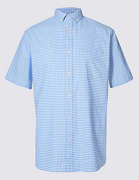 Pure Cotton Gingham Shirt with Pocket, BLUE MIX, catlanding