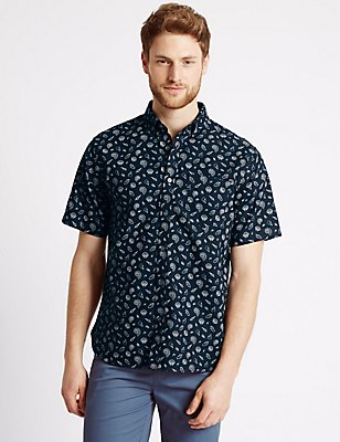 Pure Cotton Printed Oxford Shirt, , catlanding