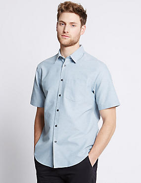 Cotton Rich Oxford Shirt with Pocket, LIGHT BLUE, catlanding