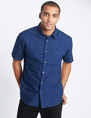Cotton Rich Oxford Shirt with Pocket, NAVY, catlanding