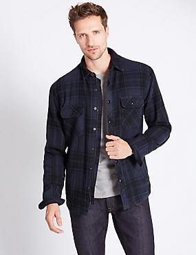 Pure Cotton Long Sleeve Checked Shirt, BLUE, catlanding