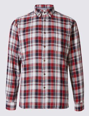 Классическая фланелевая рубашка в яркую клетку M&S Collection T253120M