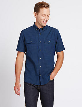 Pure Cotton Textured Shirt with Pockets, CHAMBRAY, catlanding