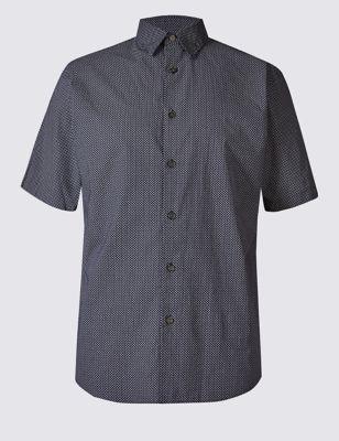 Рубашка в мелкий принт с коротким рукавом