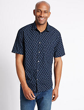 Pure Cotton Printed Shirt with Pocket, NAVY MIX, catlanding