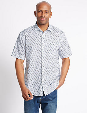 Pure Cotton Printed Shirt with Pocket, WHITE MIX, catlanding
