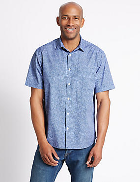 Pure Cotton Spotted Shirt with Pocket, BLUE MIX, catlanding