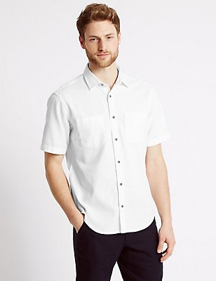 Pure Cotton Shirt, WHITE, catlanding