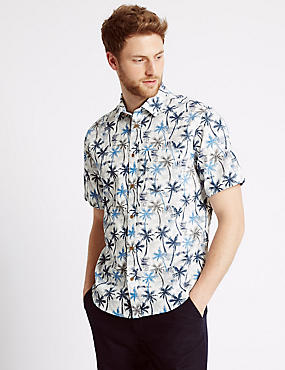 Pure Cotton Printed Shirt with Pocket, BLUE, catlanding