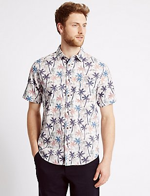 Pure Cotton Palm Tree Print Shirt, POPPY, catlanding
