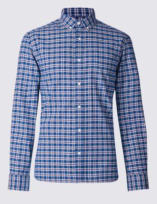 """Рубашка из чистого хлопка с ярким дизайном """"в клетку"""" M&S Collection T253130M"""