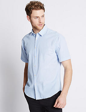 Pure Cotton Striped Shirt , BLUE, catlanding