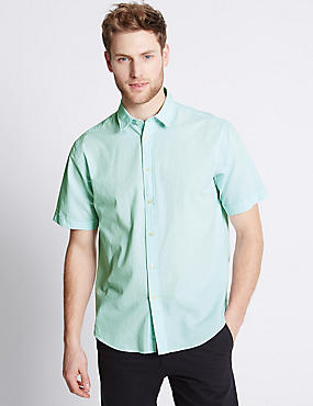 Pure Cotton Striped Shirt , MINT, catlanding