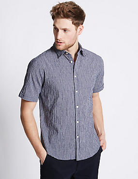 Cotton Rich Checked Shirt , NAVY MIX, catlanding