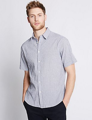 Cotton Rich Checked Shirt , WHITE MIX, catlanding