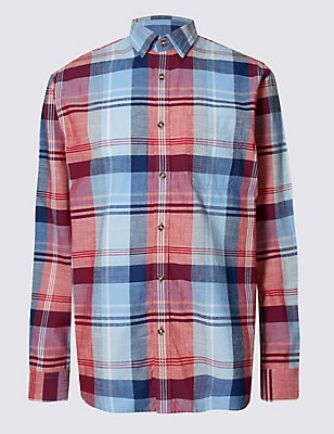 Pure Cotton Checked Shirt with Pocket, , catlanding