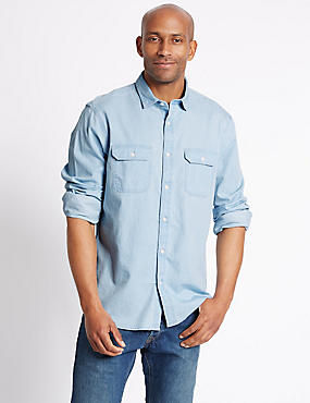 Denim Shirt with Pockets, INDIGO, catlanding