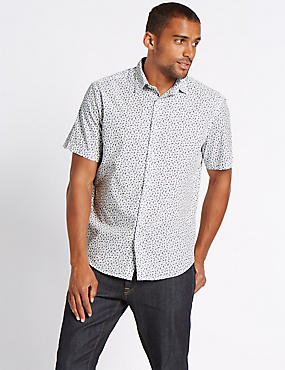 Pure Cotton Printed Shirt, WHITE MIX, catlanding