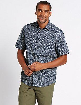 Pure Cotton Printed Shirt, BLUE MIX, catlanding