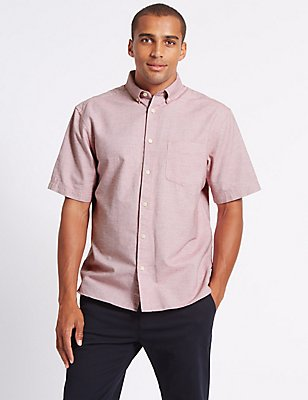Pure Cotton Oxford Shirt with Pocket, RASPBERRY, catlanding