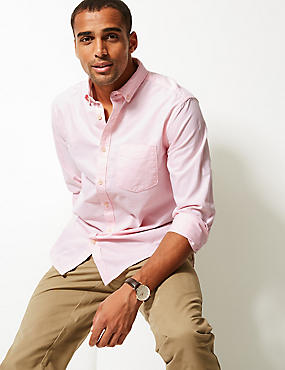 Pure Cotton Plain Oxford Shirt , BRIGHT PINK, catlanding