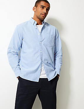 Pure Cotton Plain Oxford Shirt , BLUE, catlanding