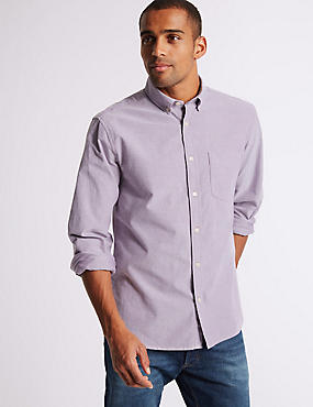 Pure Cotton Plain Oxford Shirt , DARK LILAC, catlanding