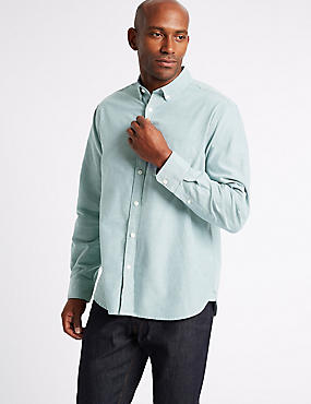 Pure Cotton Plain Oxford Shirt , TEAL, catlanding