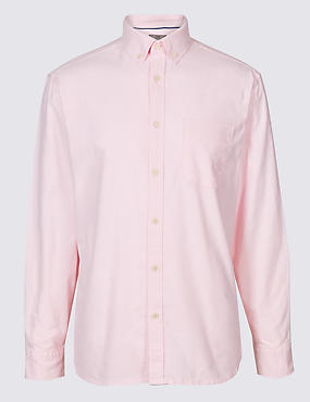 Easy Care Pure Cotton Slim Fit Oxford Shirt, BRIGHT PINK, catlanding