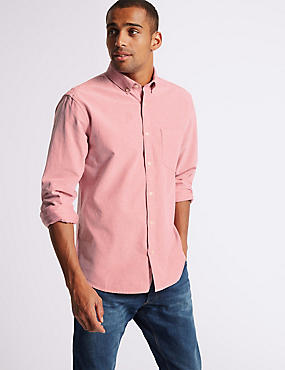 Easy Care Pure Cotton Slim Fit Oxford Shirt, RED, catlanding