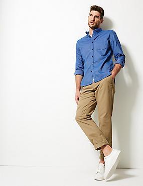 Easy Care Pure Cotton Slim Fit Oxford Shirt, BRIGHT BLUE, catlanding