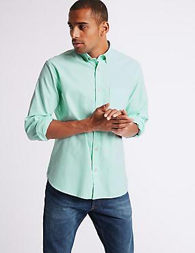 Easy Care Pure Cotton Slim Fit Oxford Shirt, MINT, catlanding
