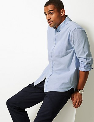 Pure Cotton Striped Oxford Shirt , BLUE, catlanding