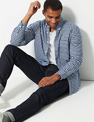 Pure Cotton Checked Oxford Shirt , NAVY, catlanding