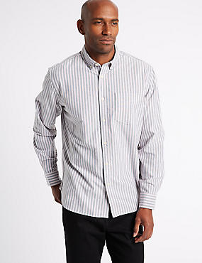 Pure Cotton Striped Oxford Shirt, INDIGO MIX, catlanding