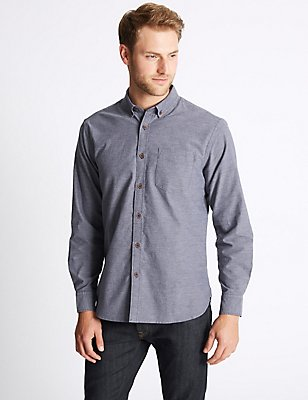 Pure Cotton Plain Oxford Shirt , NAVY, catlanding