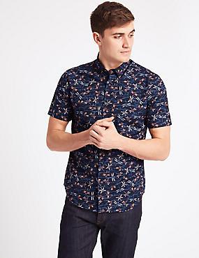 Pure Cotton Slim Fit Printed Shirt, DARK MIDNIGHT, catlanding