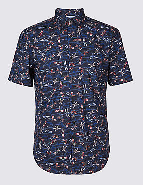 Pure Cotton Slim Fit Printed Shirt, DARK MIDNIGHT, catlanding