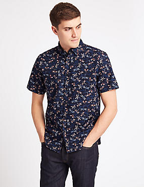 Pure Cotton Dragonfly Print Shirt, DARK MIDNIGHT, catlanding