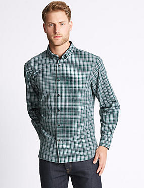 Pure Cotton Checked Oxford Shirt , DARK EVERGREEN, catlanding