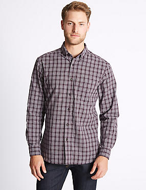 Pure Cotton Checked Oxford Shirt , DARK AUBERGINE, catlanding