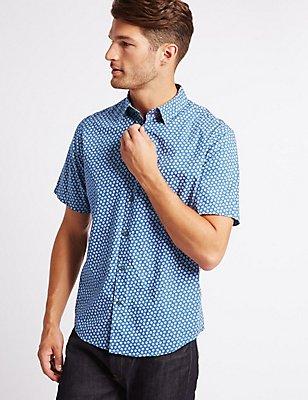 Pure Cotton Printed Shirt, BLUE, catlanding