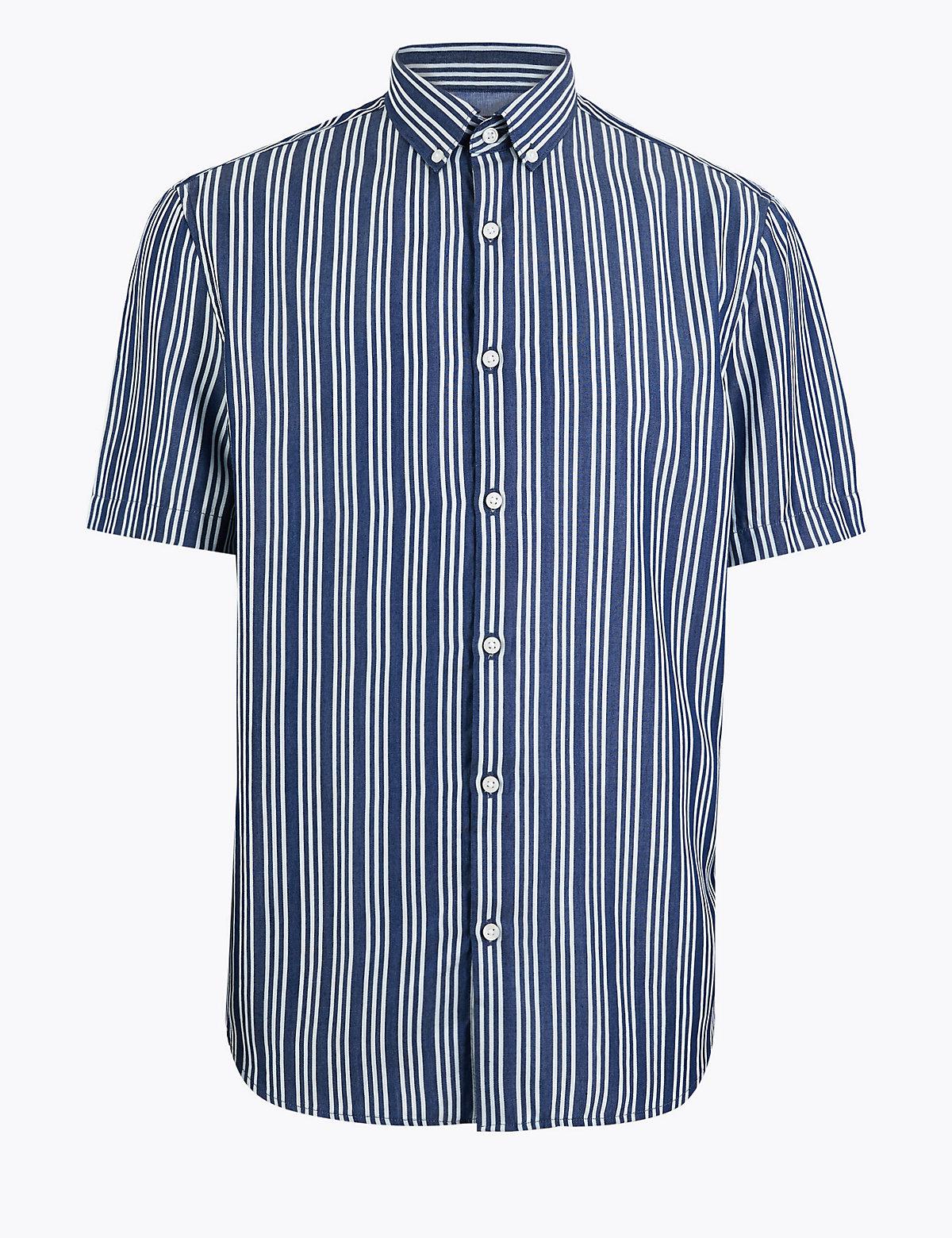 Джинсовая рубашка в мелкую полоску