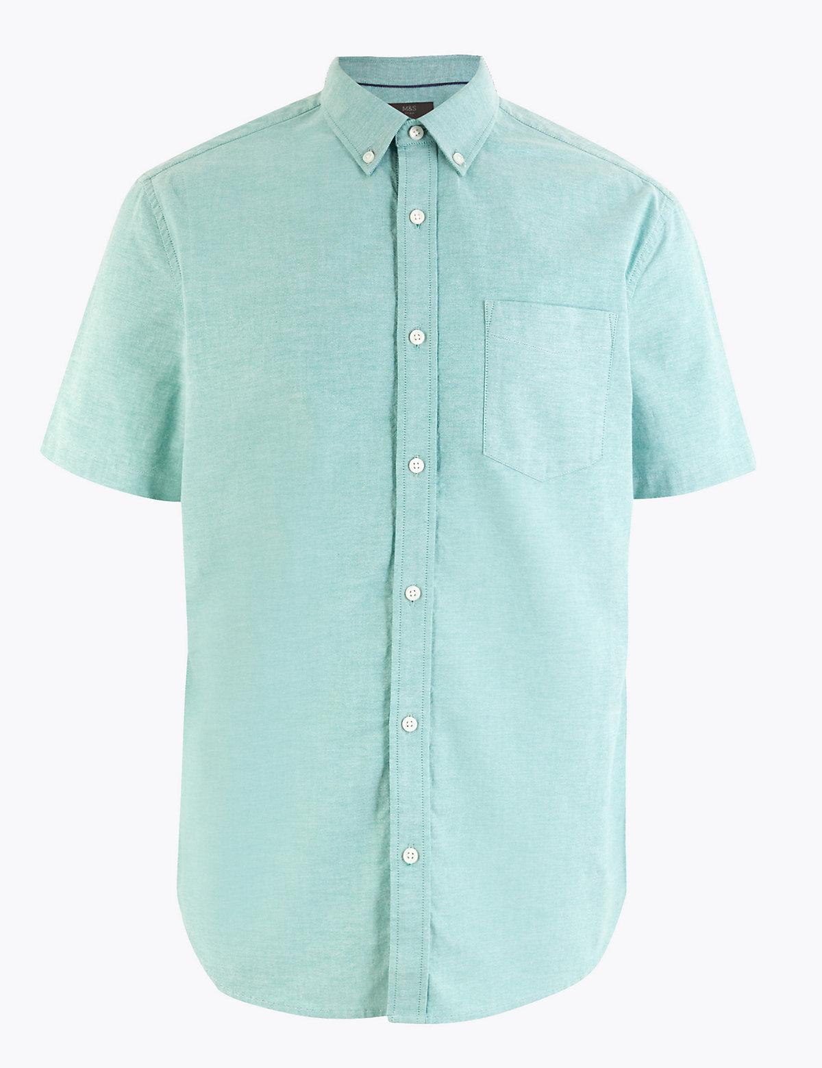 Хлопковая рубашка оксфорд с коротким рукавом