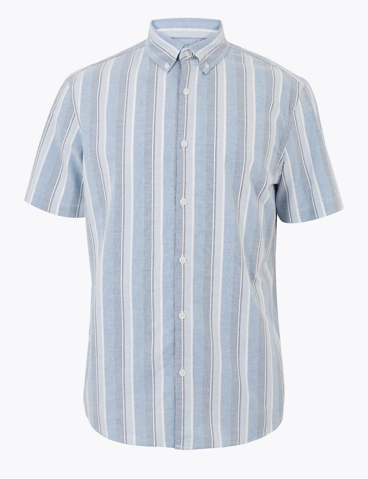 Хлопковая рубашка в вертикальную полоску