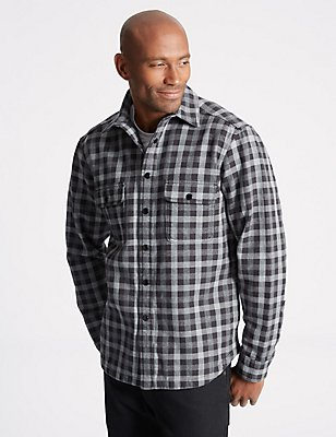 Fleece Lined Buffalo Check Overshirt, GREY MIX, catlanding