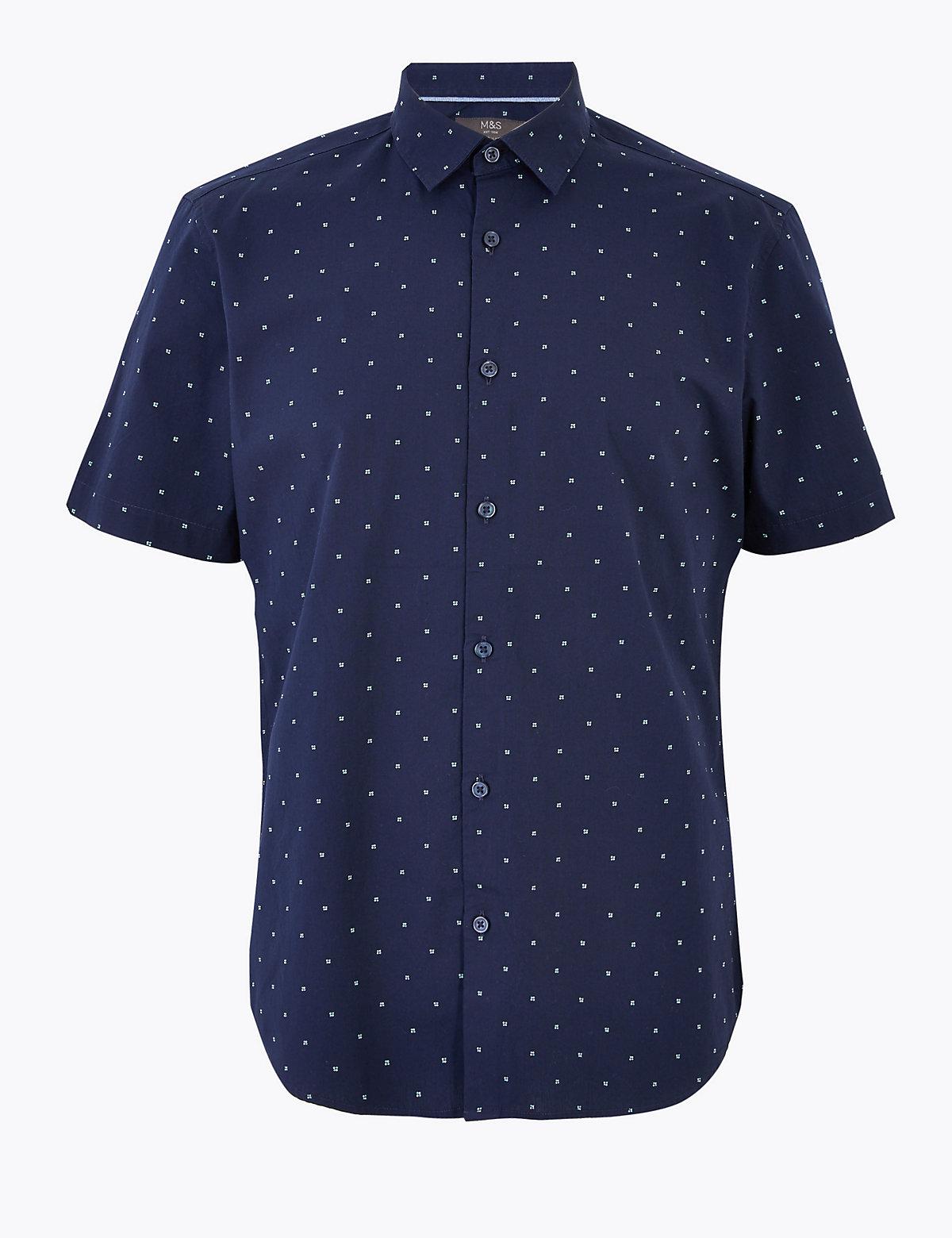 Рубашка из чистого хлопка с принтом в виде геометрических точек